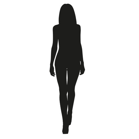 Sexy slim woman. Vector silhouette of the girl in front view