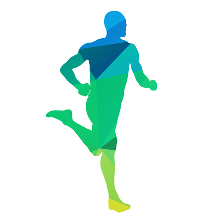 man abstract: Running man, abstract geometric vector silhouette Illustration