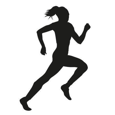 Running woman vector silhouette Stock Illustratie