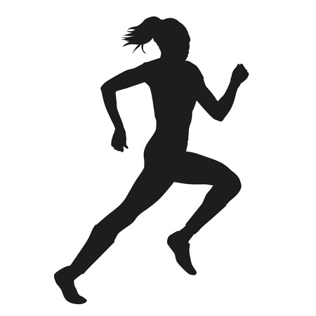 Running woman vector silhouette Çizim