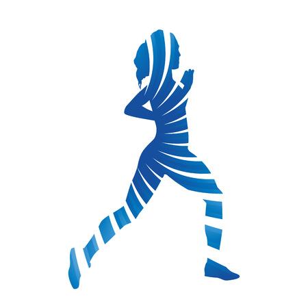 running woman: Abstract blue running woman