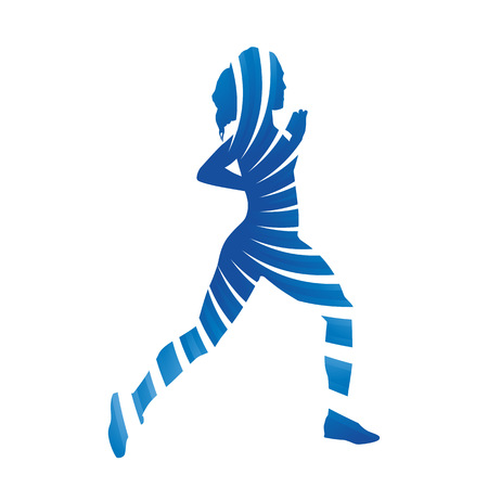 figuras abstractas: Mujer corriente azul abstracto