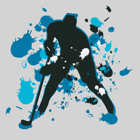 Abstract ice hockey player. Vector silhouette Illustration