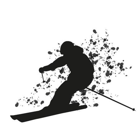 downhill: Man skier running downhill. Vector silhouette. Cool freerider