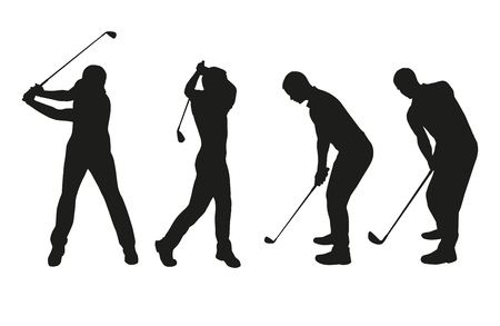 Golf players. Vector silhouettes set Stock Illustratie