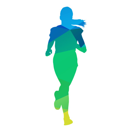 running silhouette: Abstract geometrical running girl