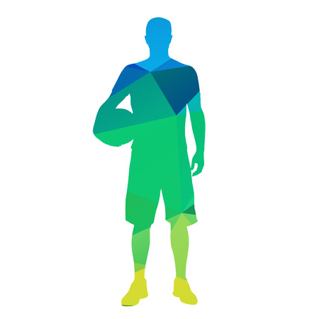 dunking: Standing geometrical basketball player Illustration