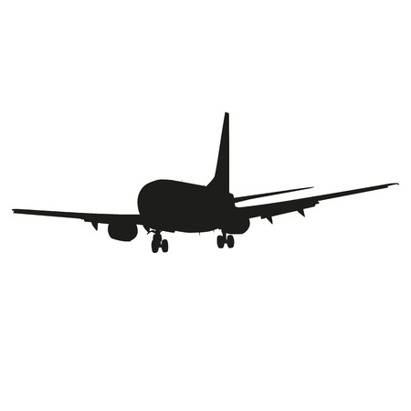 Airplane, airliner, vector silhouette