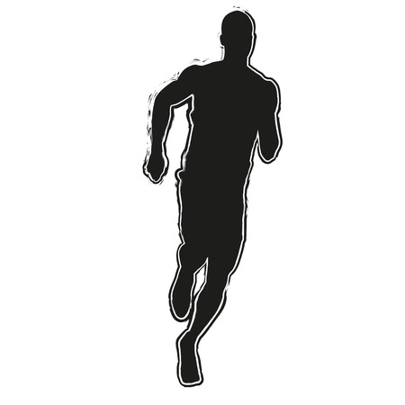 success man: Run silhouette. Running man