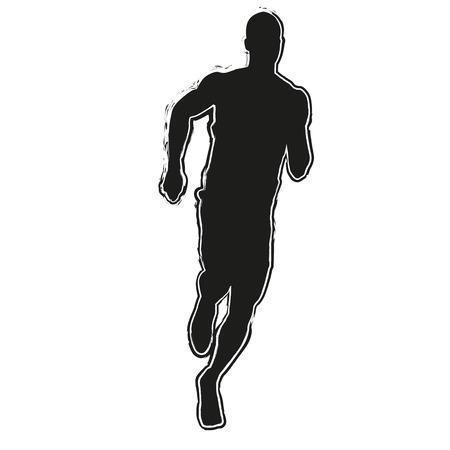 gente corriendo: Silueta Ejecutar. Hombre que corre Vectores