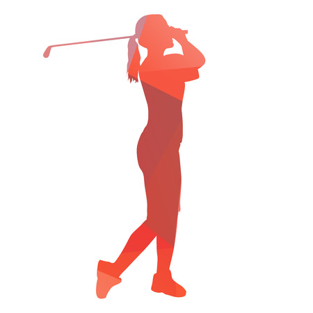 Woman playing golf. Abstract geometrical figure