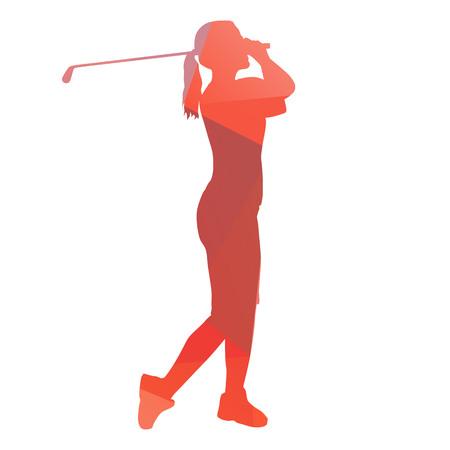 Woman playing golf. Abstract geometrical figure