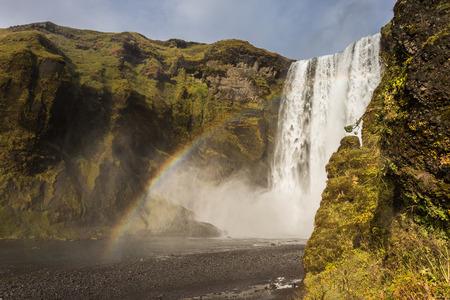 skogafoss waterfall: Skogafoss waterfall, Iceland Stock Photo
