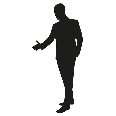 hand silhouette: Hand shaking. Vector silhouette Illustration