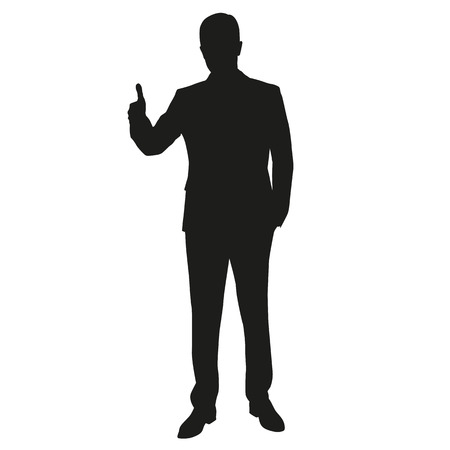 finger up: Thumbs up. Man vector silhouette