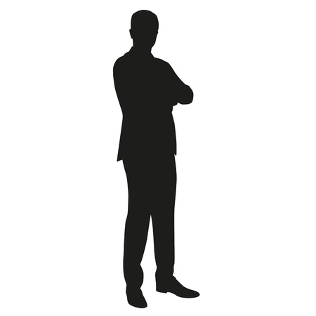 folded hands: Business main in suit with folded arms