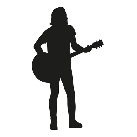 guitar player: Guitar player, vector silhouette. Illustration