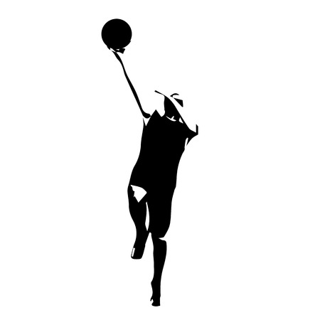 dunking: Basketball player, vector silhouette