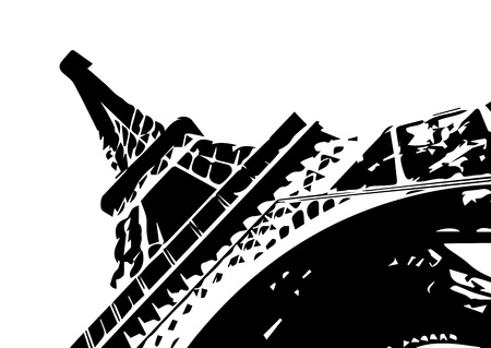towers: Eiffel tower, vector drawn illustration