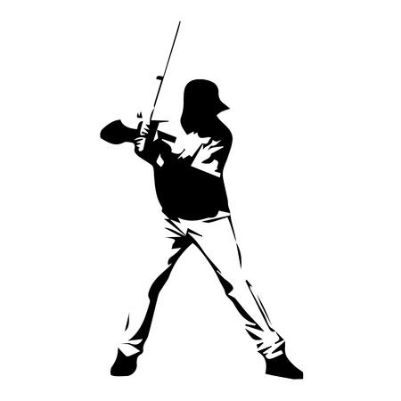 Baseball player, vector silhouette. Drawn batter