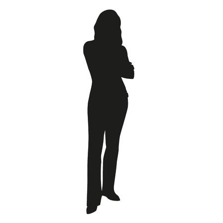 working dress: Vector silhouette of woman standing with hands folded