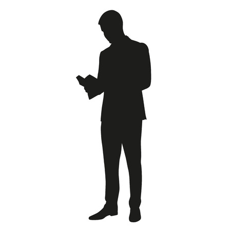 Man reading a book. Vector silhouette