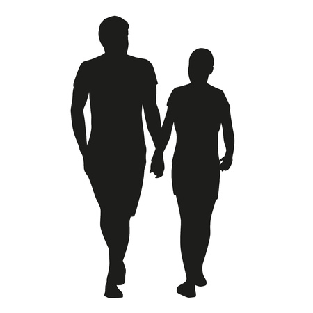 couple date: Couple on date, vector silhouettes