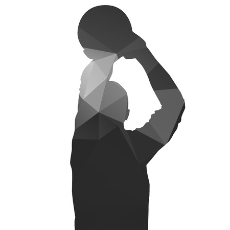 Basketball player. Shooting. Abstract geometrical silhouette Stock Illustratie