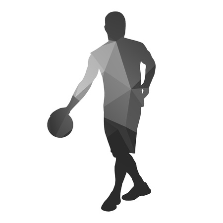 dribble: Abstract basketball player. Dribble with ball