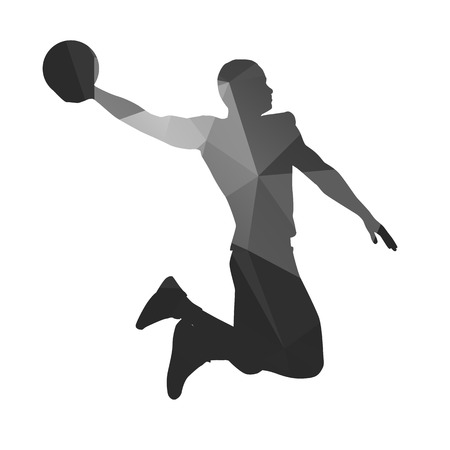 dunk: Abstract basketball player. Slam dunk, fly, jump Illustration