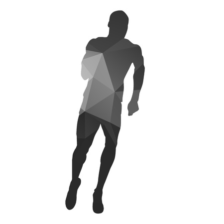 jogging: Runner. Abstract geometrical running man silhouette