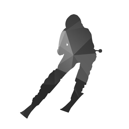 skier: Downhill skier abstract silhouette
