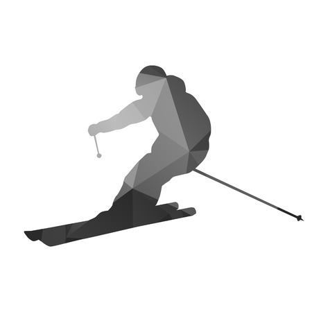 skier: Abstract skier Geometrical silhouette Illustration