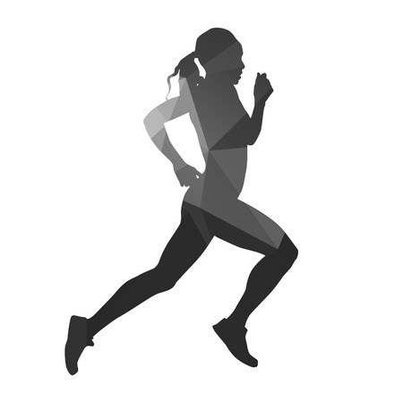 one woman: Running woman abstract geometric silhouette Illustration
