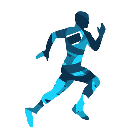 Running man, blue silhouette