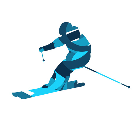 Downhill skier. Blue abstract silhouette, flat design