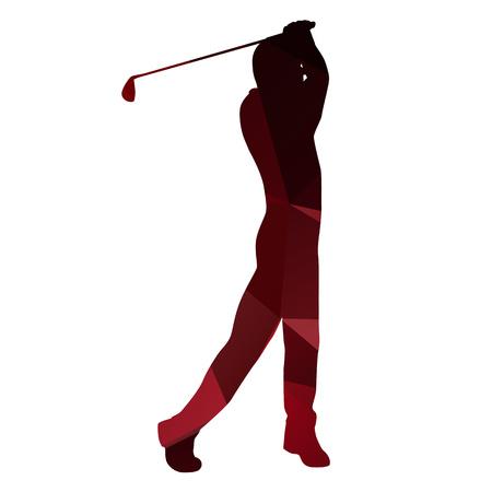 red ball: Golfer silhouette. golf player