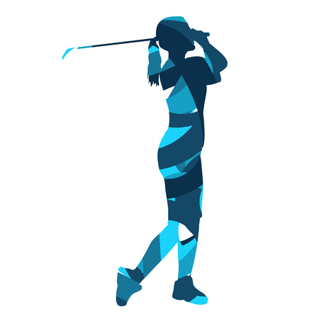 Golf vrouw silhouet. Blauwe abstracte golfer