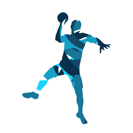 ハンドボール選手。抽象的な青いシルエット 写真素材 - 49065396
