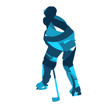 ice hockey player: Ice hockey player. Abstract blue silhouette