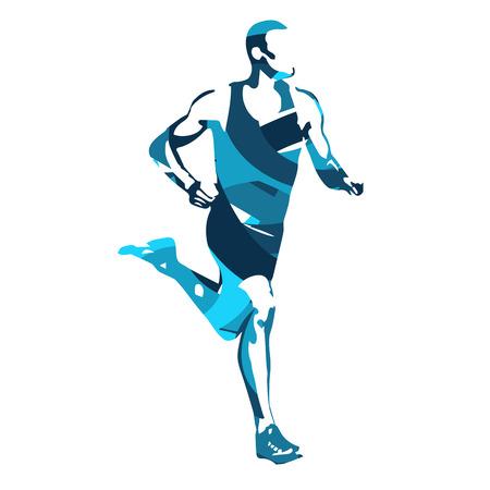 thin man: Corredor silueta abstracta azul