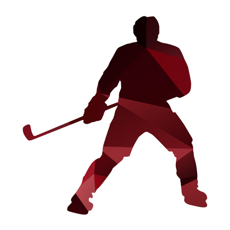 ice hockey player: Geometric ice hockey player silhouette Illustration