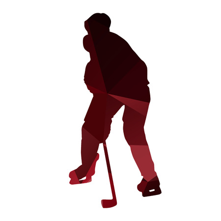 ice hockey player: Ice hockey player. Red abstract geometrical silhouette