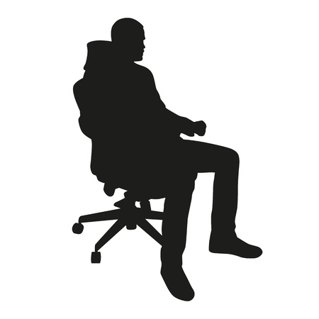 man sitting: Business man sitting in chair silhouette