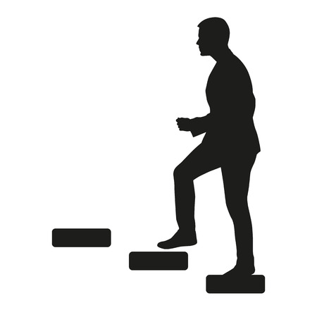 Businessman is going upstairs silhouette Иллюстрация