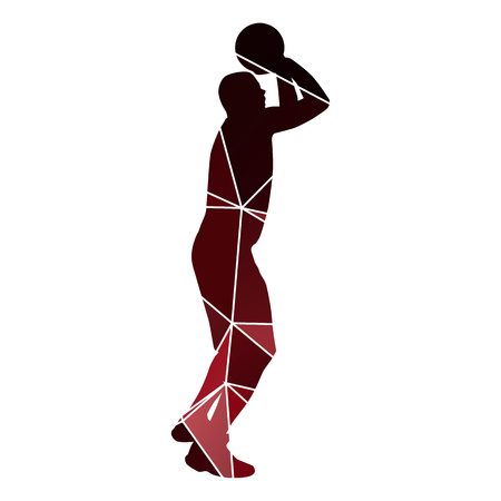 jump shot: Basketball player jump shot. Red geometrical  silhouette Illustration