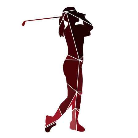 driving range: Golf woman. Red geometric lady golfer silhouette