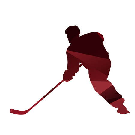 ice hockey player: Red abstract ice hockey player silhouette Illustration