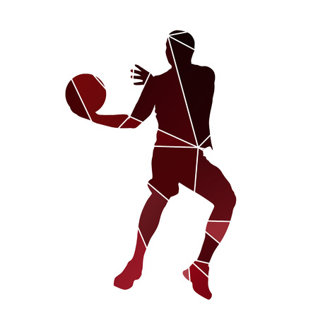 man jumping: Basketball player. Abstract red silhouette Illustration