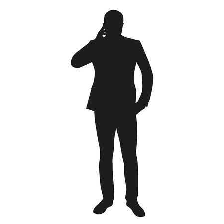 black suit: Man thinking, cell phone call silhouette